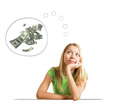 Teenager thinking about money