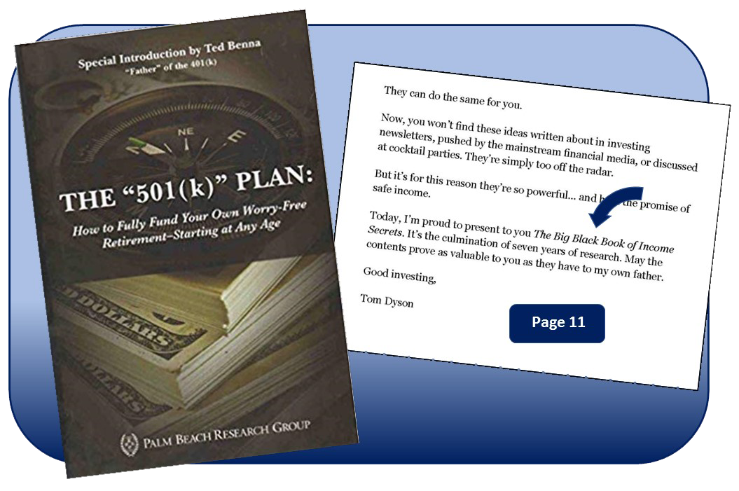 "Side-by-side comparison of cover and page 11 of The ""501(k)"" Plan book, showing where Palm Beach Research Group forgot to change the name of the book on page 11, when they put a new cover on The Big Black Book of Income Secrets and began offering it as The ""501(k)"" Plan"