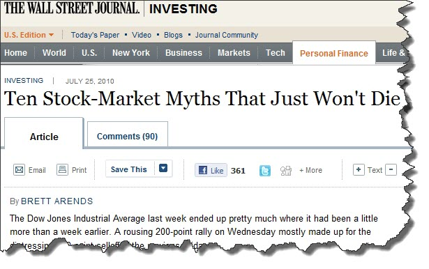 WSJ 10 Stock-Market Myths That Just Won't Die