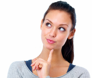 Woman touching chin with forefinger, deep in thought