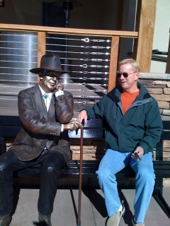 Husband Larry with Santa Fe Public art
