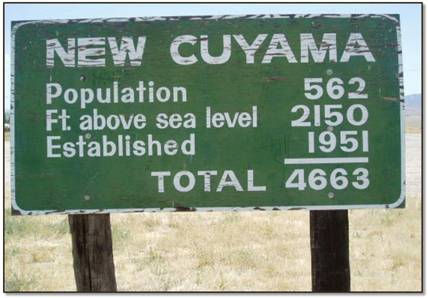 Roadside sign showing the total of New Cuyama's population, plus its elevation, plus the year it was established
